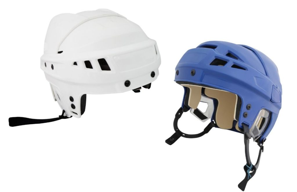Two ice hockey helmets