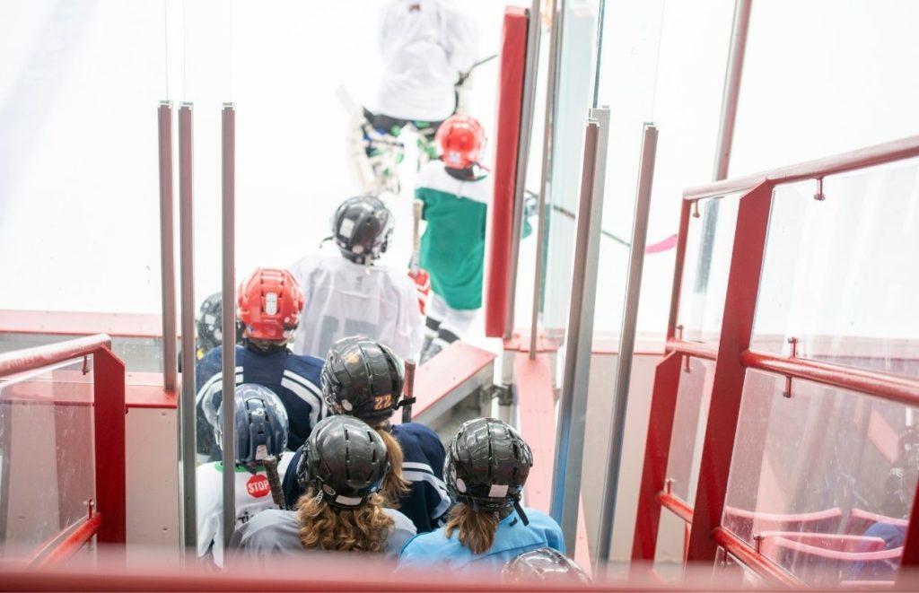 Hockey Teammates entering the rink